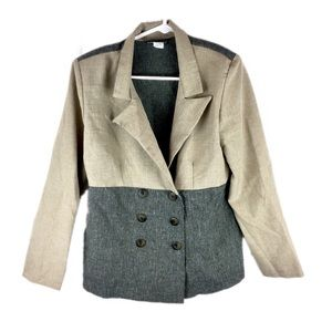 Vany New York Neutral Block Button Blazer - A1